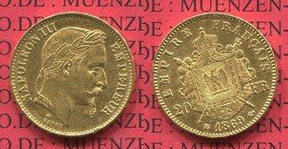 20 Francs Goldmünze 1869 Frankreich, France Frankreich 20 Francs 1869 BB Strasbourg Napoleon III. vz