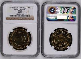 100 Francs Goldmünze 1982 Monaco Monaco 100 Francs 1982 Gold Probe Essai,  Rainier III. Albert NGC Zertifiziert MS 65