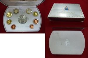 Euro Kursmünzensatz Offiziell, 3,88 Euro 2003 Vatikan Papst Johannes Paul II. PP mit Silbermedaille Polierte Platte OVP Verpackung weist Gebrauchsspuren auf