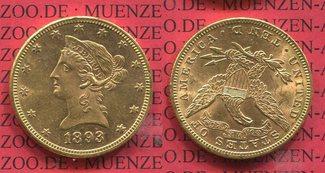 10 Dollars 1893 USA, United States of Amerika, Vereinigte Staaten Liberty, Frauenkopf, 1893 Coronet Head Goldmünze vorzüglich