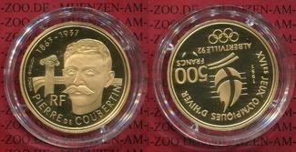 500 Francs Goldmünze 1991 Frankreich France Winter  Olympics Albertville  Coubertin Polierte Platte in Kapsel Box Zertifikat