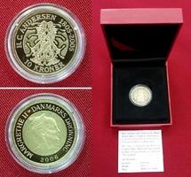 10 Kroner Goldmünze 2006 Dänemark Der Schatten - H.C. Andersen 1805 - 2005 PP The Shadow Polierte Platte mit Box & Zert.