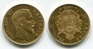 50 Francs Goldmünze, Goldcoin 1858 A Frankreich France Empire Napoleon III. Empereur vz min rdf. rev.