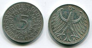 5 DM Silberadler 1958 J Bundesrepublik Deutschland Kursmünze Silberadler Seltener Jahrgang Key Date ! gutes sehr
