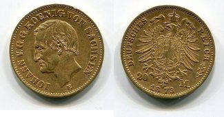 20 Mark Goldmünze Kursmünze 1873 E Sachsen German Empire Kingdom of Saxonia König Johann ss+