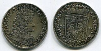 2/3 Taler 1691 ICS Brandenburg Preußen Berlin , Friedrich III. Sauber entf. Henkel ss-vz