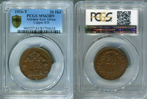 20 Heller 1916 T Deutsch Ostafrika A/A Combination PCGS MS 63 BN