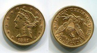 5 Dollars Half eagle 1881 USA Liberty, Frauenkopf, Coronet Head vz