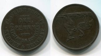 One Penny Trade Token ca. 1895 Australien Australia Flavelle Bros Opticians & Jewellers Sydney and Brisbane  Emu Kangaroo sehr schön