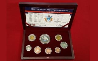 Kursmünzensatz 2008 TDC Tristan da Cunha KMS 2008 8 Münzen - First Mint Set of Stoltenhoff Islands TDC Stgl. mit Box & Zert.