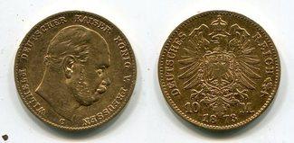 10 Mark Preußen Gold 1873 C Preußen Wilhelm I. sehr schön
