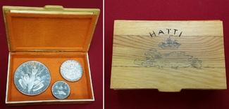 5, 10 und 25 Gourdes Silbermünzen 1967 Haiti Set Kursmünzensatz Hispaniola, Toussaint Louverture, l Art Haïtien Polierte Platte- berührt mit Holzbox