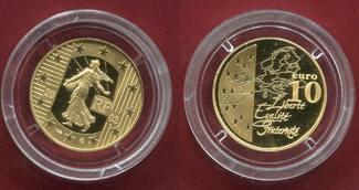 Frankreich 10 Euro Goldmünze 2003 Polierte Platte