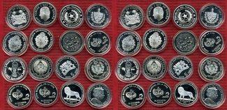 Lot von 16 Silbermünzen 2004 - 2006 Argentinien Rußland Spanien Fußball WM 16 Silbermünzen Fußball WM Deutschland 2006 Soccer World Cup Germany Polierte Platte mit Fifa Zertifikaten