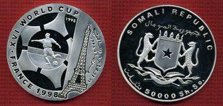 50.000 Shillings 1998 Somalia Schilling 1/2 kg Silber Feinsilber Fußball WM 1998 Frankreich PP* Silber
