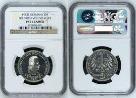5M 1955F GERMANY Bundesrepublik Deutschland 5 DM 1955, 150. Todestag von Friedrich von Schiller NGC PF 61 CAMEO