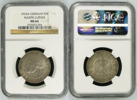 5M 1933A GERMANY III. Reich 5 Reichsmark 1933 A, 450. Geburtstag von Martin Luther NGC MS 64