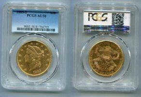 20 Dollars Gold 1885 S USA Liberty Double Eagle Frauenkopf  AU 58