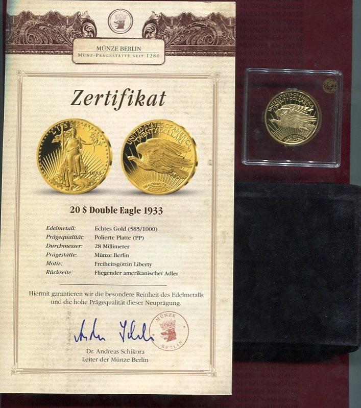 20 Dollars Double Eagle Neuprägung 1933/Copy USA Neuprägung ...