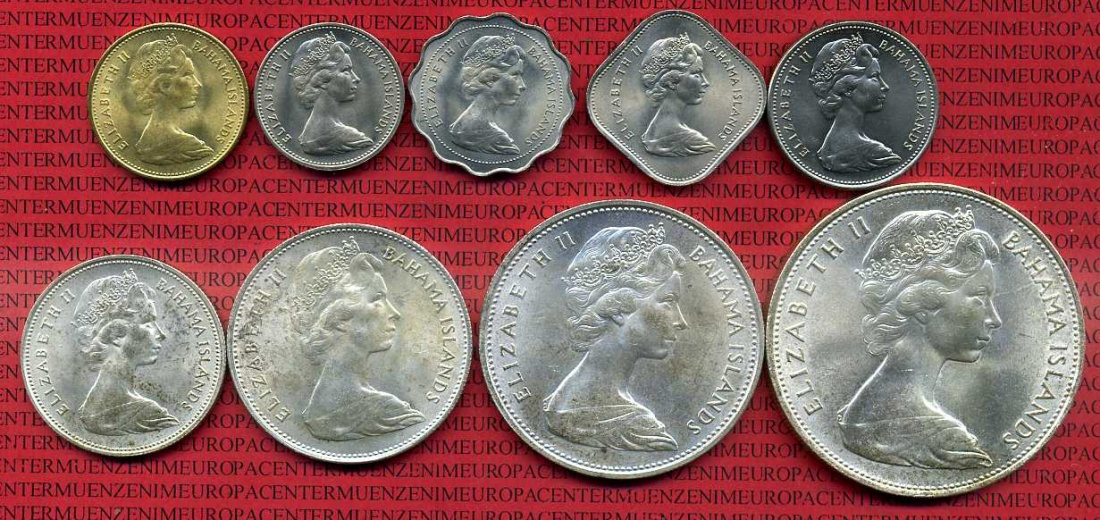 KMS 1 Cent - 5 Dollar 1966 Bahamas Bahamas KMS 1 Cent bis 5 Dollar 1966 Unc  coin set not cleaned