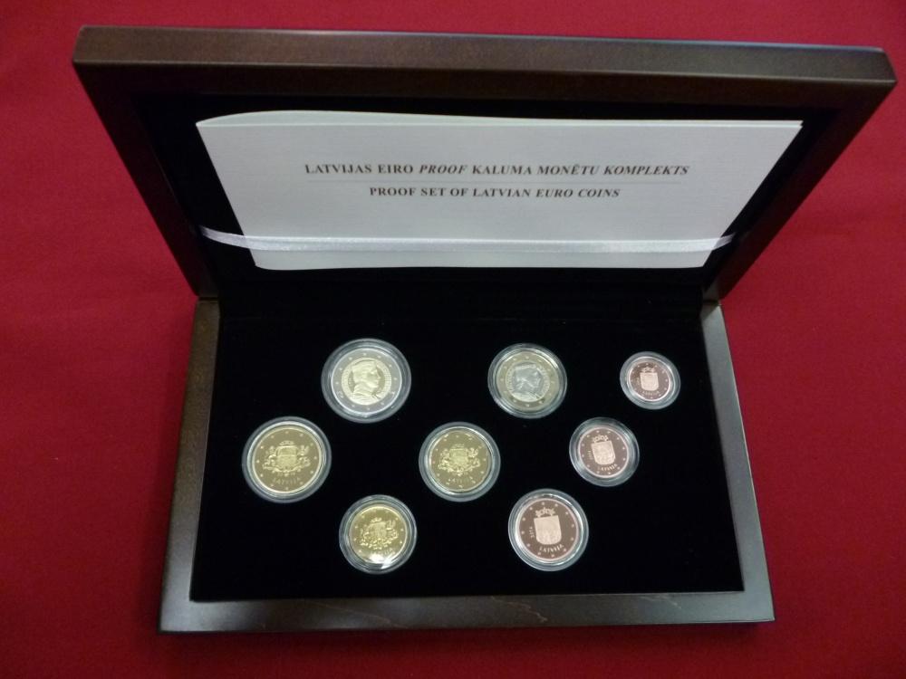 388 Euro Kursmünzensatz 2014 Lettland Kms Pp 8 Münzen 1 Cent 2