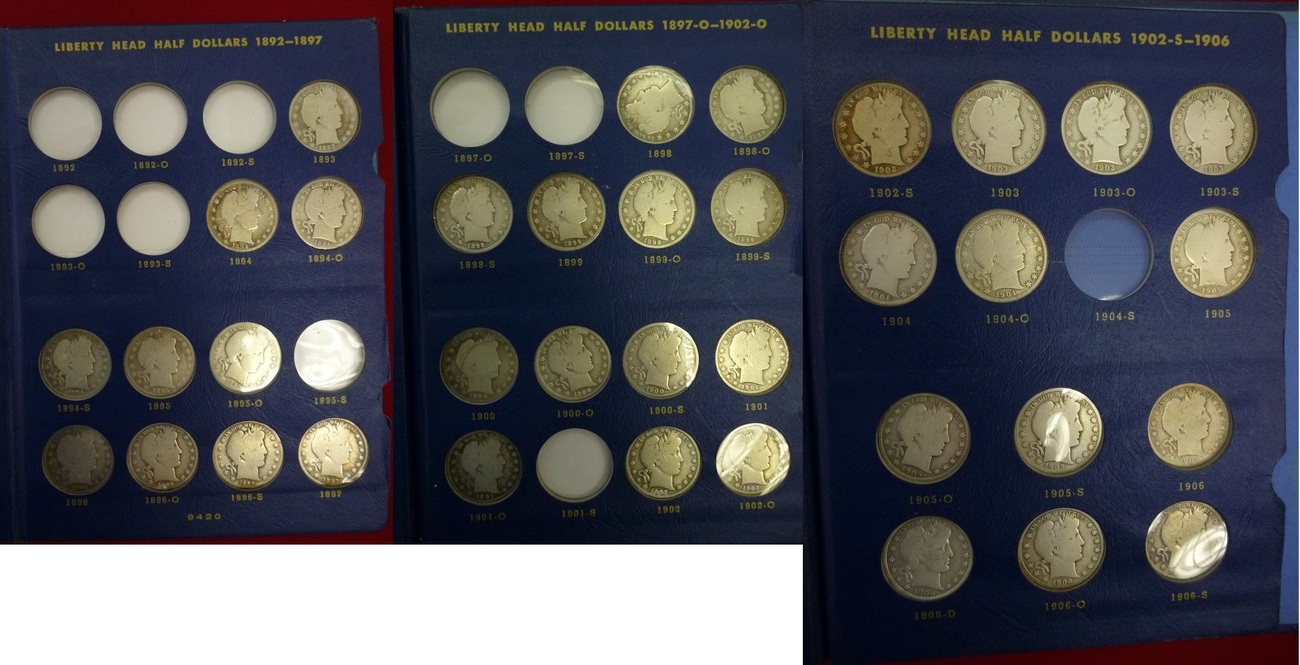 Lot 36 x 1/2 Dollar Silber 1893-1906 USA, United States of Amerika USA 36 x  1/2 Dollar Barber Halves - Half Dollars Silber, Barber Lot see picture all