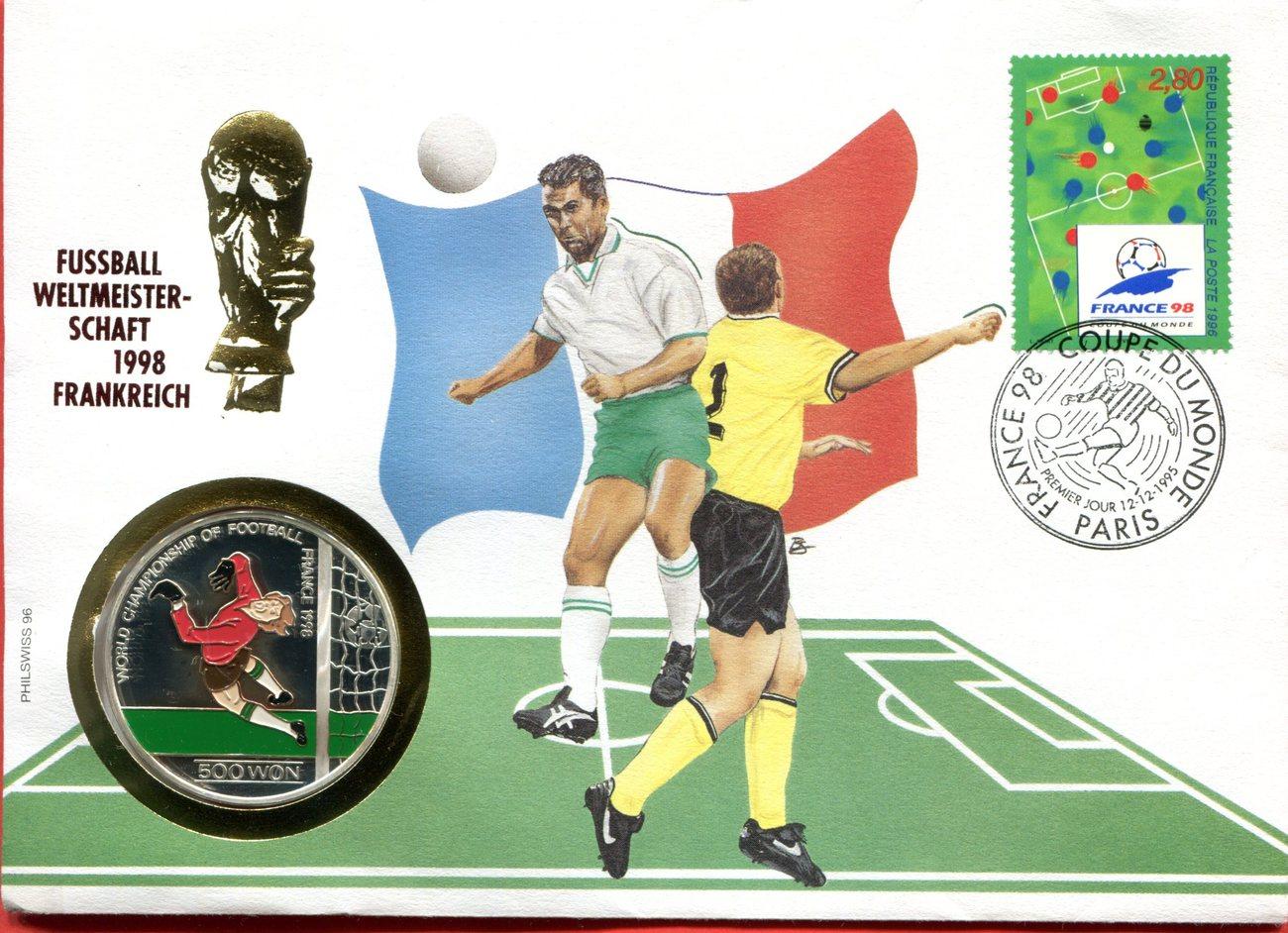 500 Won Numisbrief 1998 Nordkorea BRD Numisbrief 1998 Fußball-WM ...