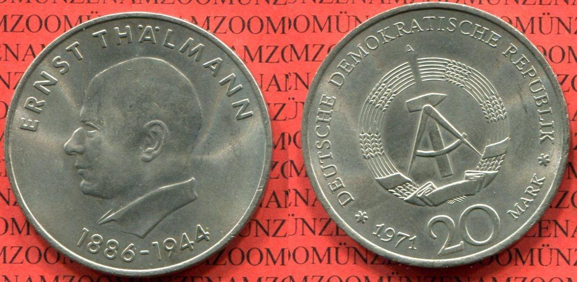 20 Mark Neusilber 1971 Ddr Gdr Deutsche Demokratische Republik Ddr