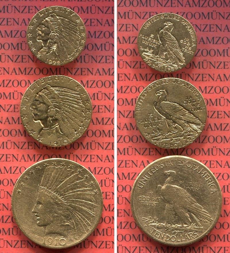 25 5 Und 10 Dollars Indianerkopf Set 1910 1928 Usa Usa Indian
