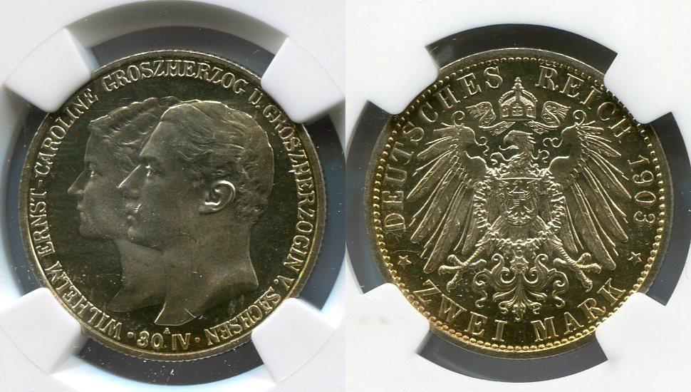 2 Mark Kaisereich 1903 Sachsen Weimar Eisenach, NGC Zertifiziert ...