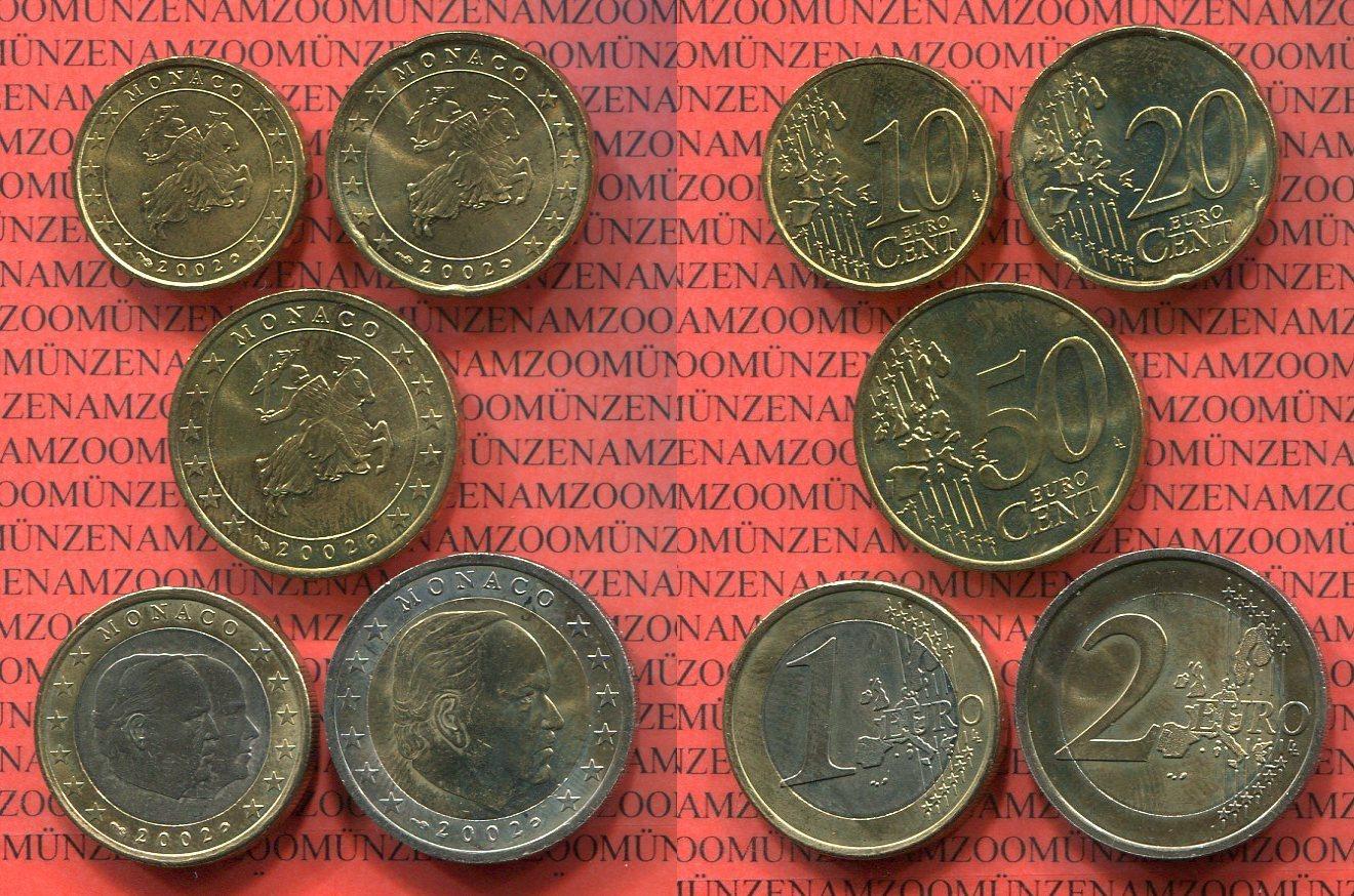 Kursmünzensatz 10 Cent 2 Euro 2002 Monaco Monaco Kursmünzensatz