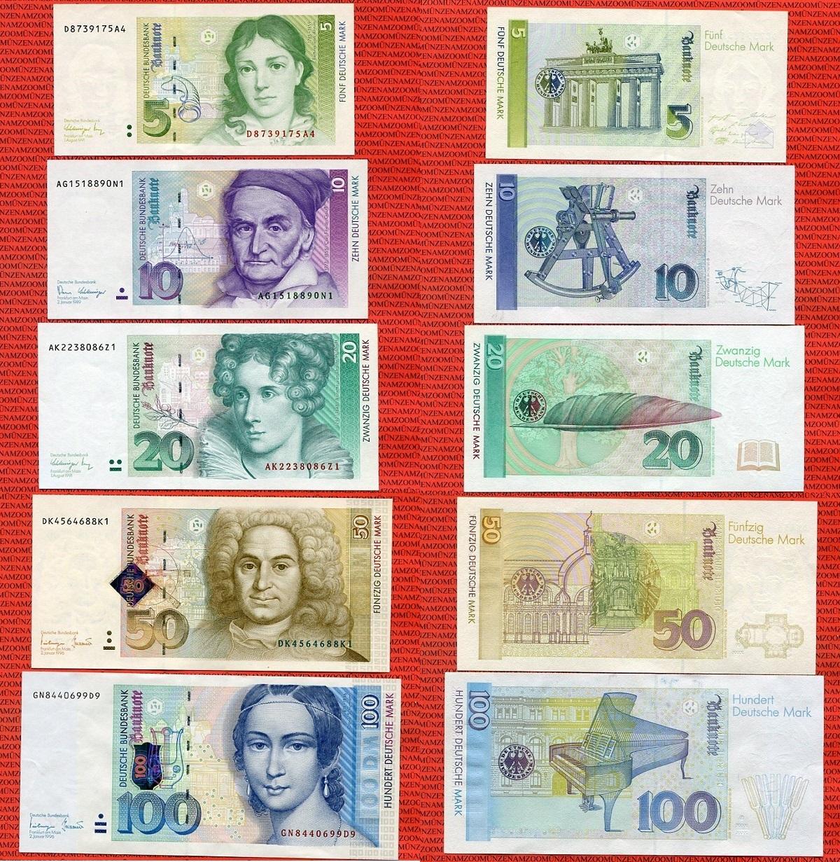Brdbundesrepublik Deutschland Frg Germany 5 Dm 100 Dm Deutsche Mark Lot 1989 1996 Deutsche Bundesbank Lot 5 Banknoten Lot I Ii Ma Shops