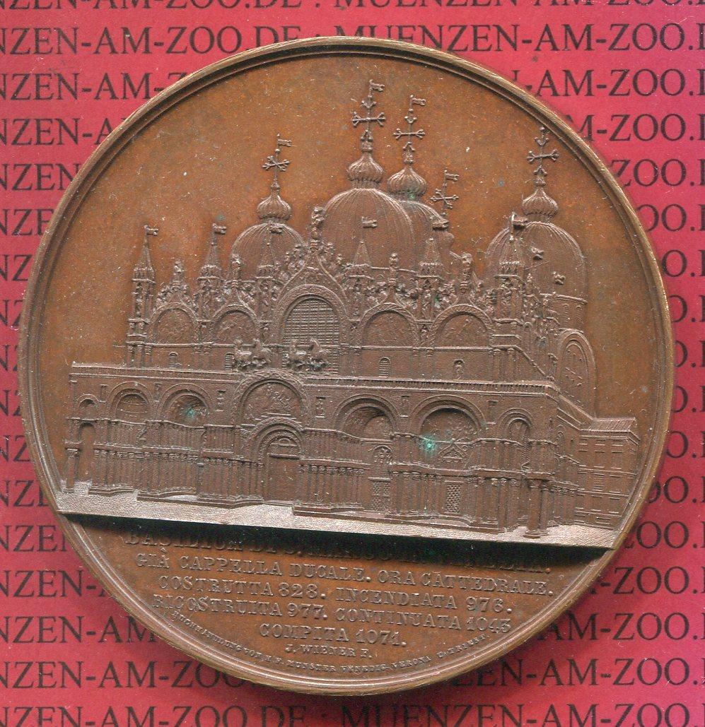 Grosse Bronzemedaille Medal 1850 Italien Venedig Venice Italy