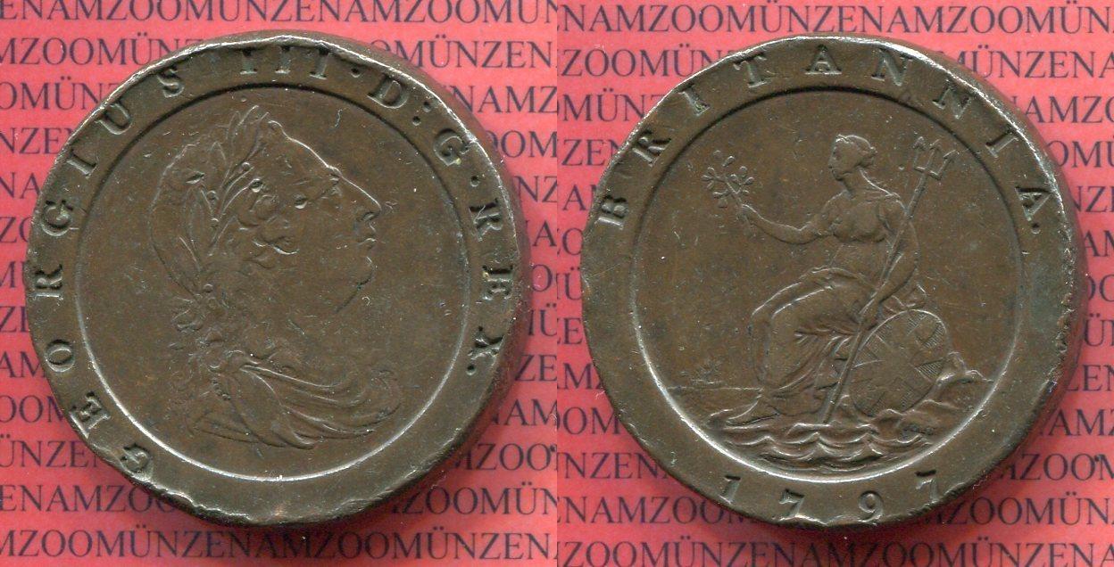 2 Pence 1797 Großbritannien England 2 Pence Cartweel Typ 1797 Georg III.  Kupfer sogenanntes Wagenrad f/vf