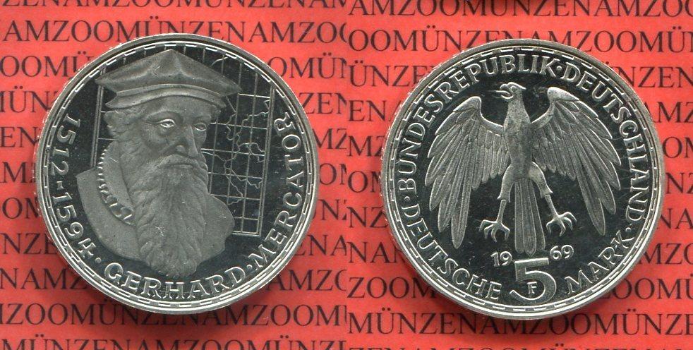 5 Dm Silber Gedenkmünze 1969 F Bundesrepublik Deutschland