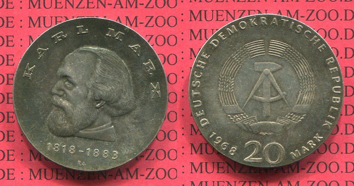 20 Mark Silbermünze Ddr 1968 Ddr East Germany 100 Geburtstag Von