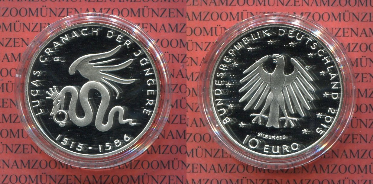 10 Euro Gedenkmünze 2015 Bundesrepublik Deutschland Lucas Cranach