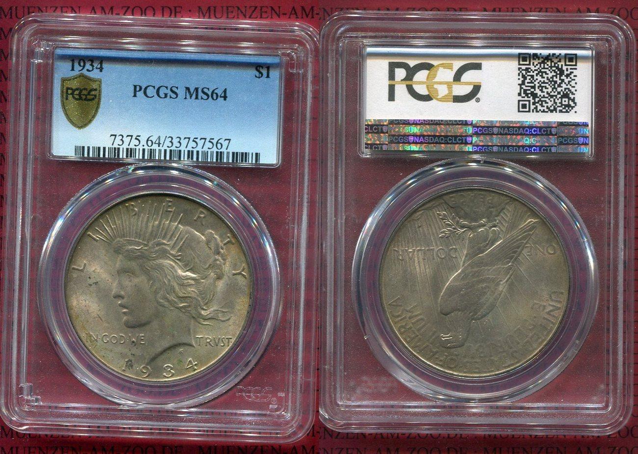 1 Dollar Silbermünze 1934 USA Peace Typ USA MS 64 PCGS holder