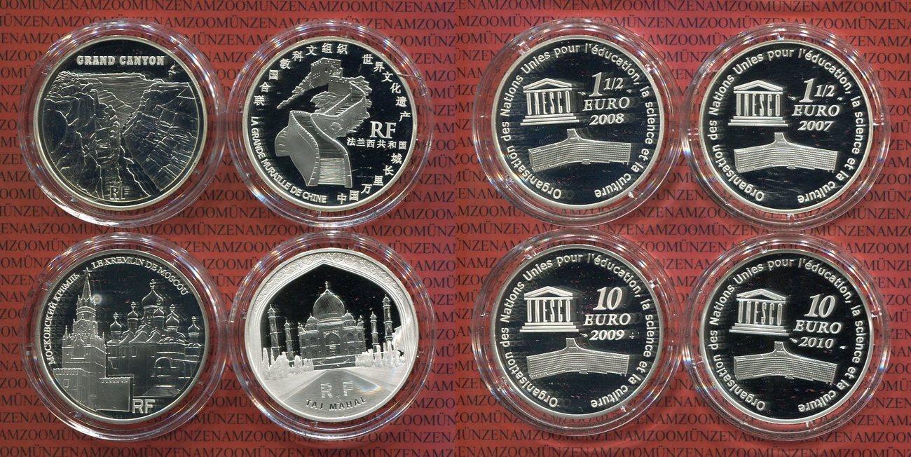 2 X 15 Euro Und 2 X 10 Euro 2007 2010 Frankreich Unesco Serie 4