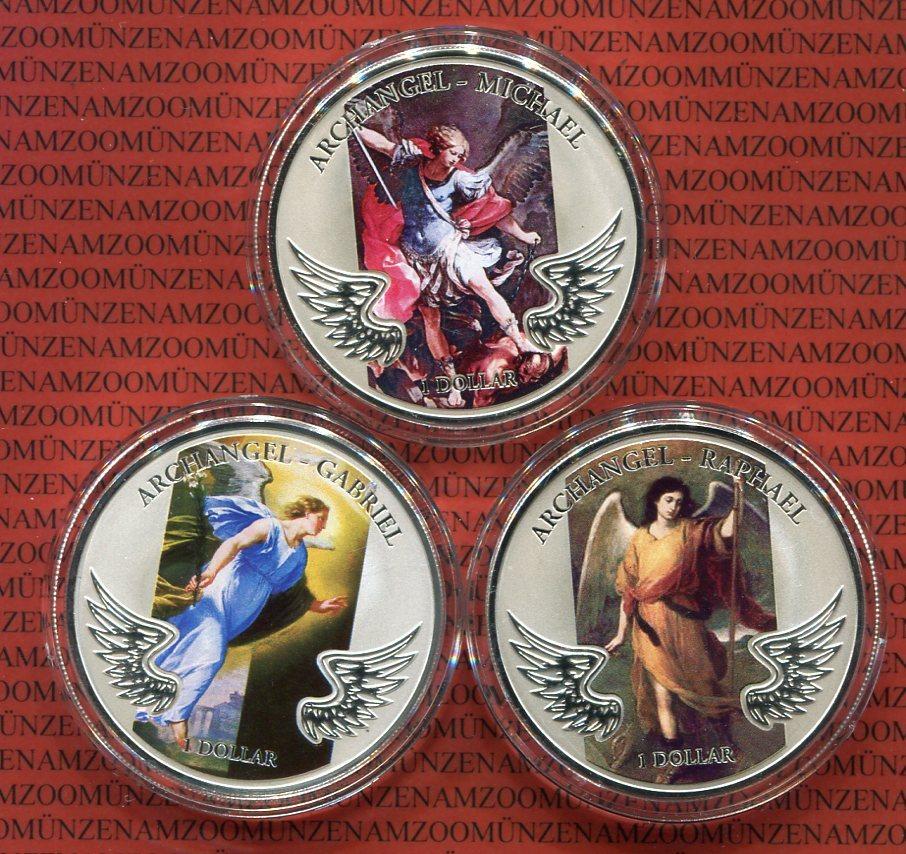 3 X 1 Dollar Farbmünzen 2009 Salomonen Solomon Islands Erzengel
