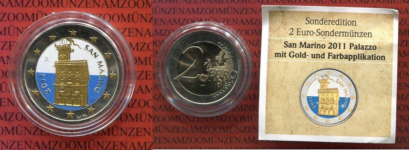 2 Euro Kursmünze 2011 San Marino Kursmünze Teilvergoldet Und In