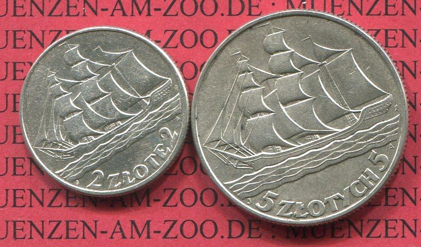 2 Und 5 Zloty Silber 1936 Polen Poland 1936 15th Anniversary Of