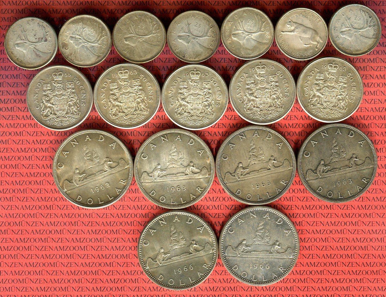 Lot Von 18 Münzen 1961 1967 Kanada 7 X 25 Cent 5 X 50 Cent Und 6
