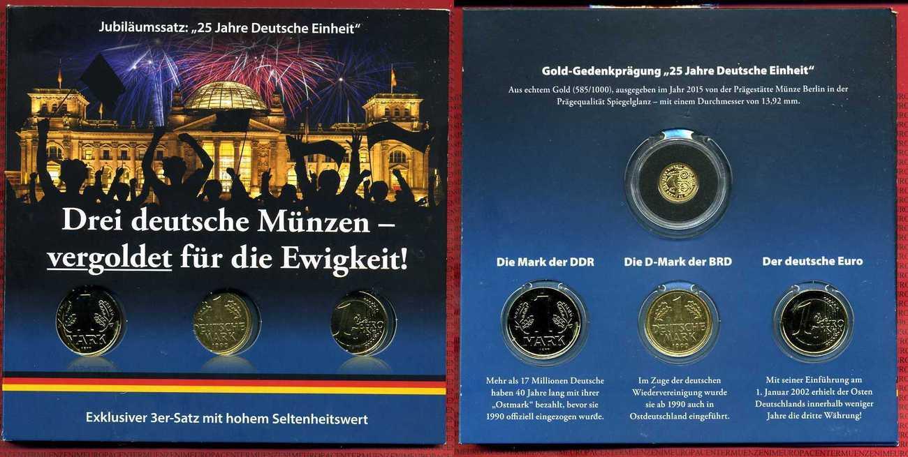 1 Mark 1 Dm 1 Euro Mit Vergoldung Goldmedaille 2015 Bundesrepublik