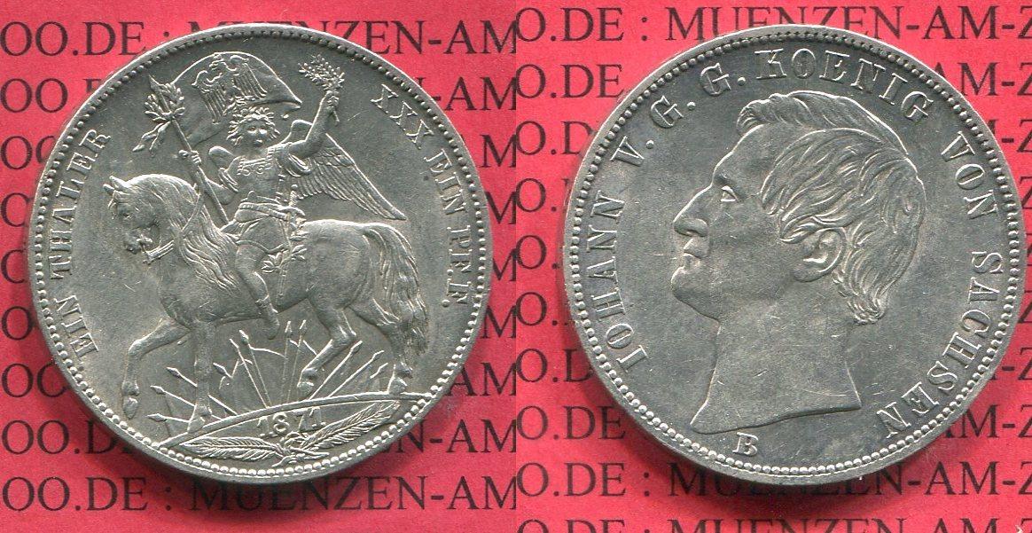 1 Taler Vereinstaler Siegestaler 1871 Sachsen Siegestaler Sieg über