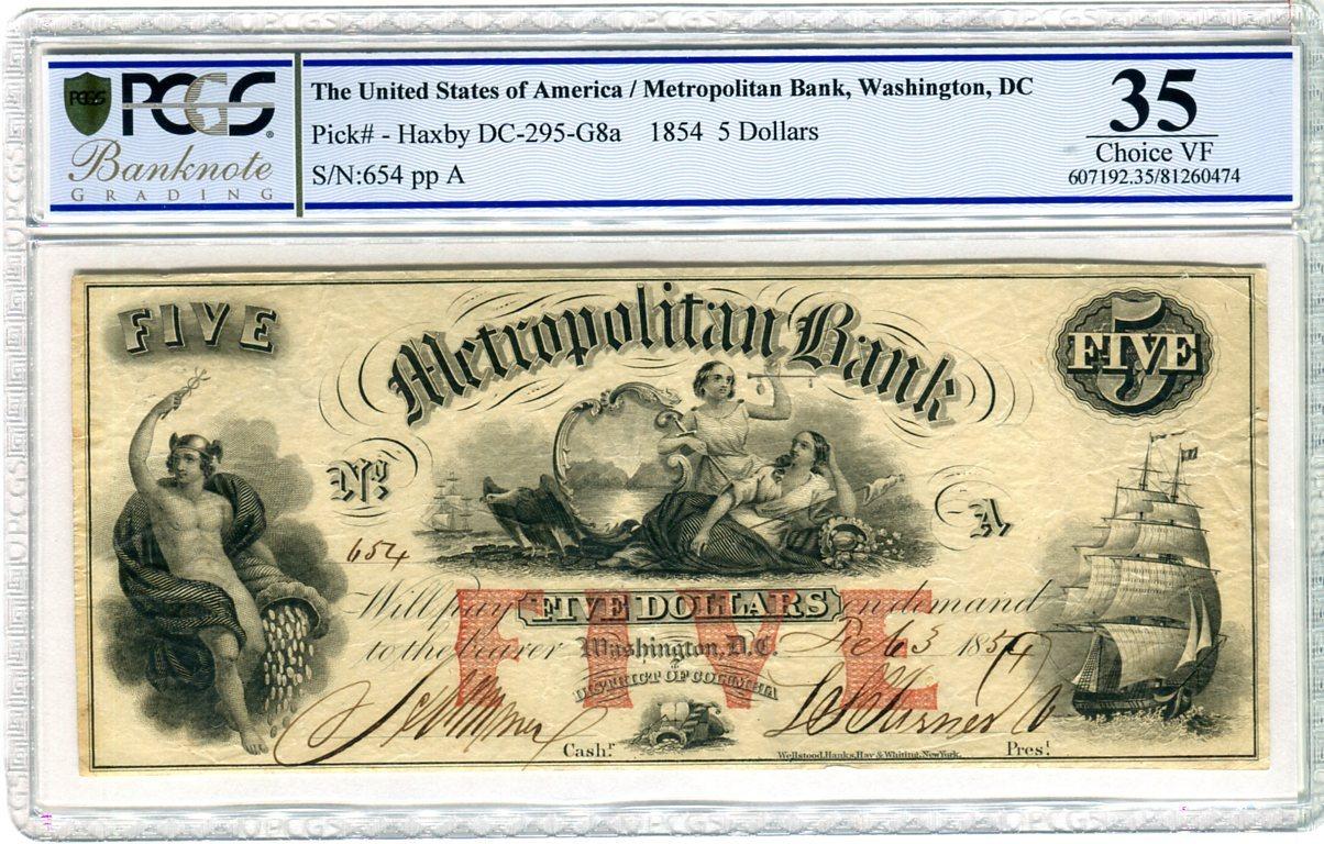 5 Dollars 1854 Washington DC USA Schiff, antike Darstellung von Personen  Metropolitain Bank PCGS 35 Choice VF
