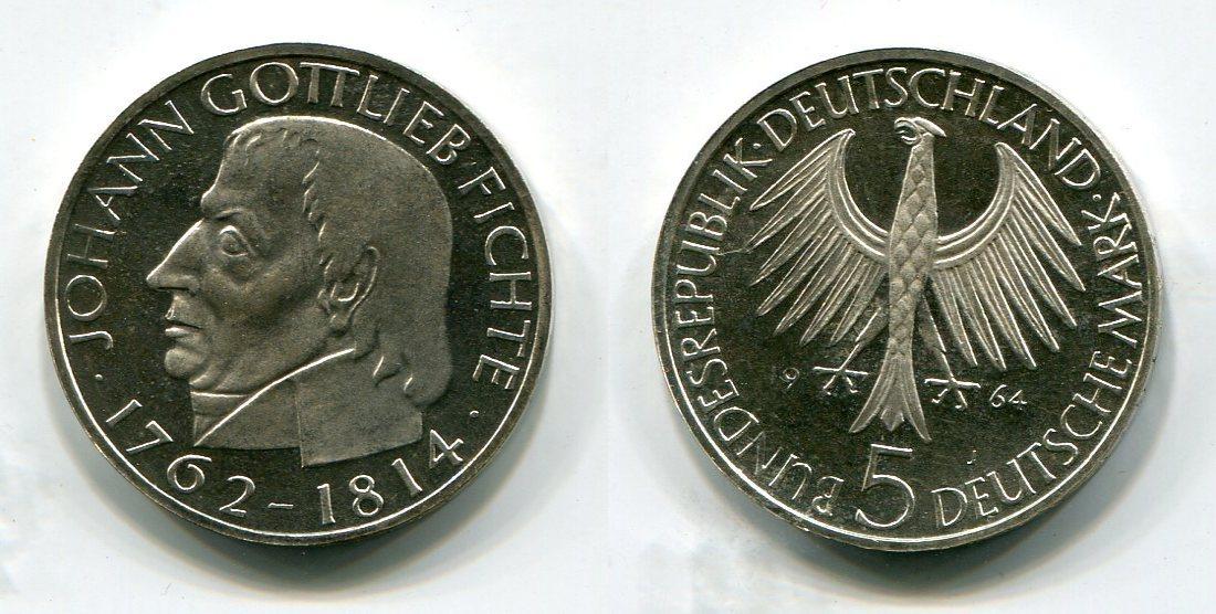 5 Deutsche Mark 1964 J Brd Bundesrepublik Deutschland Frg Germany Johann Gottlieb Fichte Proof Ma S
