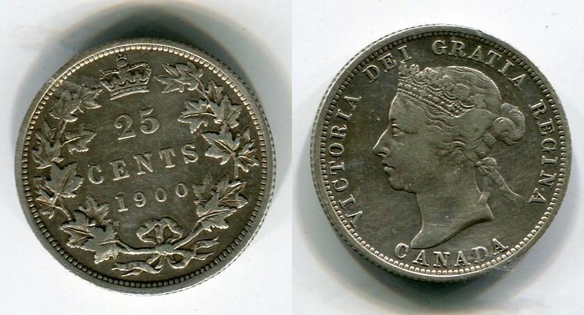 25 Cents Quarter 1900 Kanada Victoria Usa Det Xf Cleaning Ma Shops