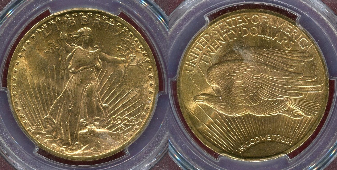 20 Dollars 1925-D The United States of America St Gaudens Seltener Jahrgang  Double Eagle Key Date PCGS MS 63