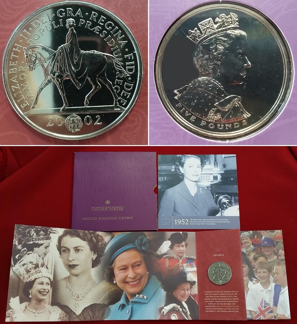 5 Pfund Kuni Münze 2002 England Uk Great Britain Golden Jubilee